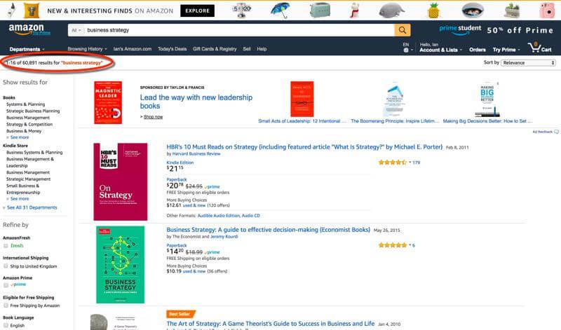 Business Strategy Books on Amazon